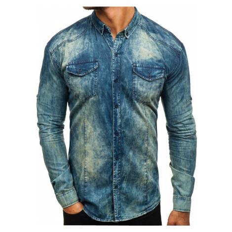 Tmavě modro-šedá pánská džínová košile s dlouhým rukávem Bolf 0895 MADMEXT