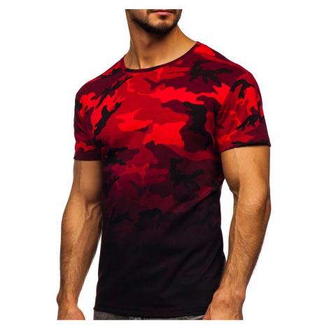 Červené pánské maskáčové tričko s potiskem Bolf S808