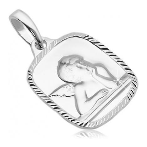 Stříbrný přívěsek 925 - obdélníkový plochý medailon s andělem Šperky eshop