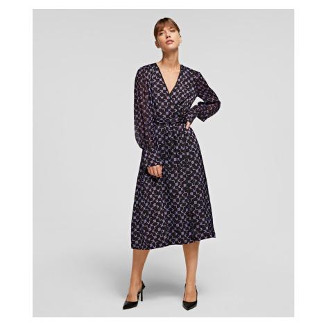 Šaty Karl Lagerfeld Karl Tetris Printed Wrap Dress - Černá