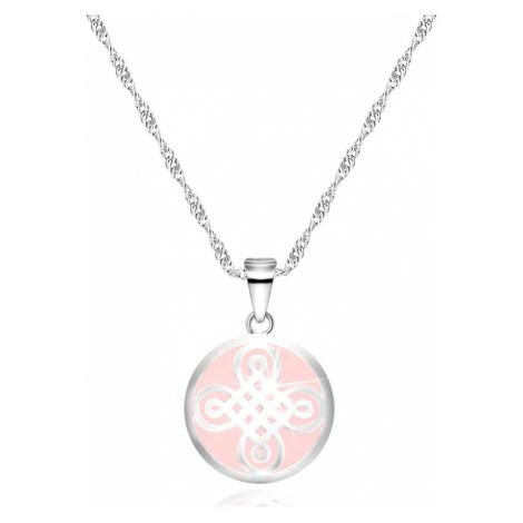 Stříbrný 925 náhrdelník - přívěsek ve tvaru kruhu, keltský motiv, růžový podklad Šperky eshop