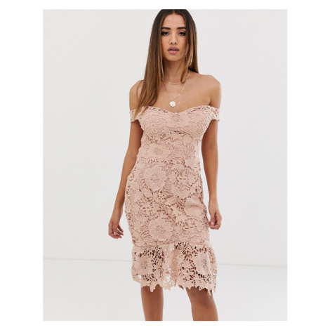 Missguided lace bardot bodycon dress in nude