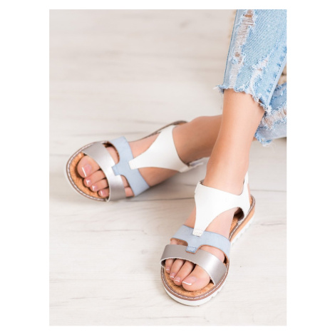 Stylové dámské  sandály šedo-stříbrné bez podpatku Kylie