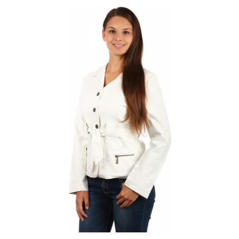 Dámský koženkový kabátek s páskem