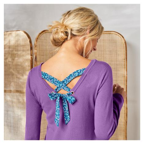 Blancheporte Jednobarevný pulovr se šněrováním zádech, potisk květin šeříková