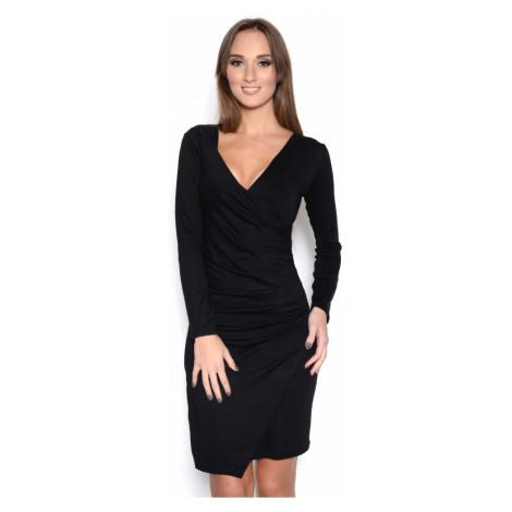 Řasené šaty s dlouhým rukávem a efektem sukně barva černá