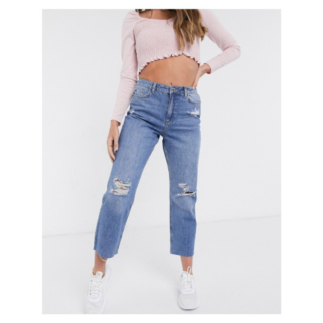 Miss Selfridge straight leg jeans in mid wash-Blue
