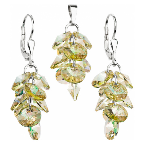 Evolution Group Sada šperků s krystaly Swarovski náušnice a přívěsek zlatý hrozen 39104.6