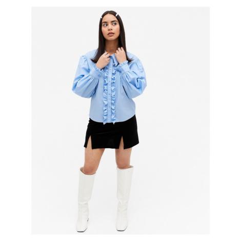 Monki Camina cotton frill front tuxedo shirt in blue