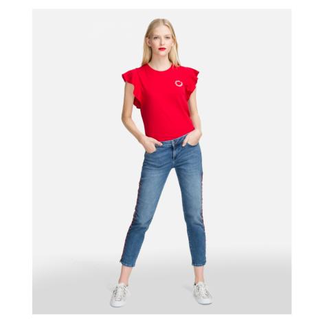 Džíny Karl Lagerfeld Girlfriend Denim W/ Lacing - Modrá