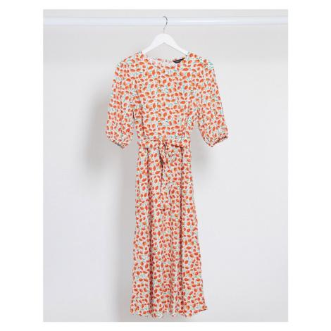 New Look puff sleeve belted midi dress in orange floral print