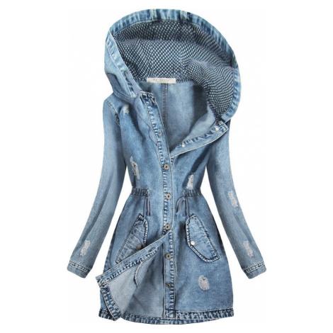 Dlouhá džínová bunda s kapucí (C073)