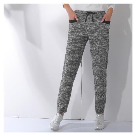 Blancheporte Meltonové sportovní kalhoty s potiskem černý melír