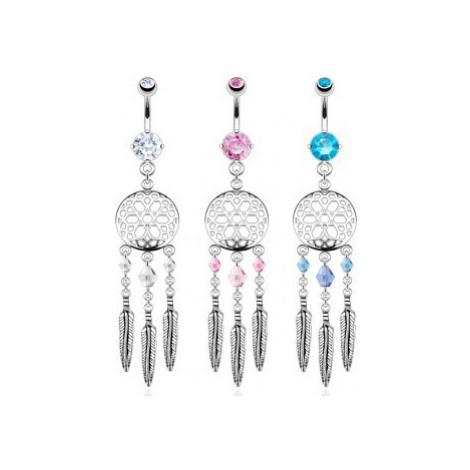Piercing do pupíku z oceli - lapač snů, barevné korálky a ocelová pírka - Barva zirkonu: Růžová  Šperky eshop