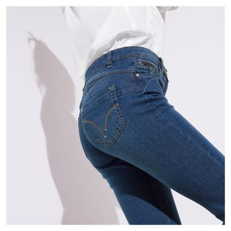 Blancheporte Rovné džíny s push-up efektem, pro vyšší postavu denim
