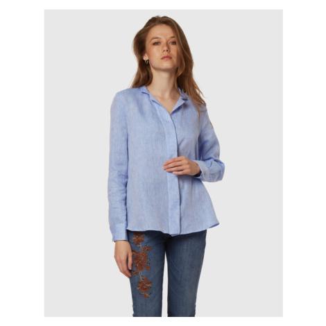 Košile La Martina Woman Linen Shirt - Modrá