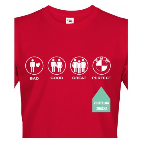 Pánské tričko se značkou auta na přání - v ukázce triko s logem BMW BezvaTriko