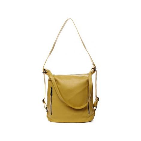 Italy Dámská kožená kabelka batoh žlutá - Nadine Žlutá