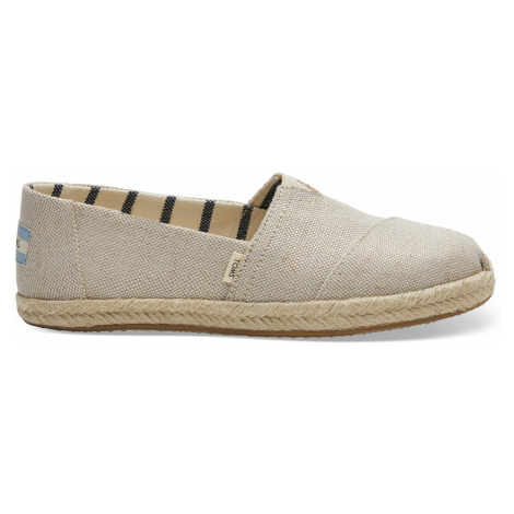 Natural Pearlized Metallic Canvas Women Alpargata Rope Sole Toms