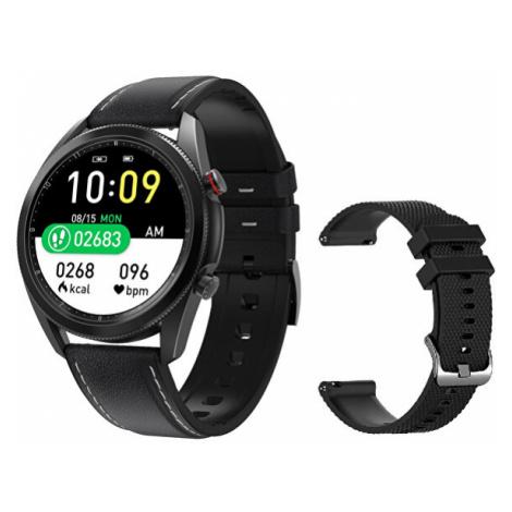 Wotchi Smartwatch W75B - Black Leather + náhradní řemínek