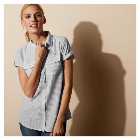 Blancheporte Pruhovaná košilová halenka bílá/šedá