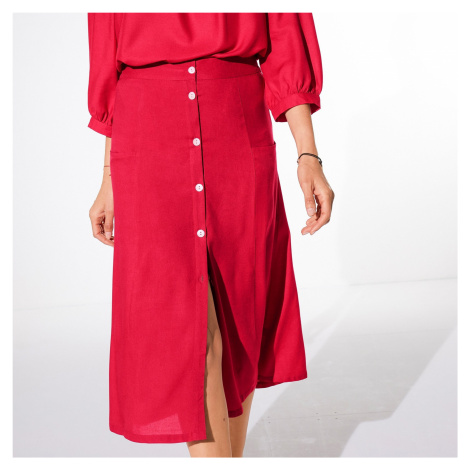 Blancheporte Jednobarevná dlouhá sukně s knoflíky červená
