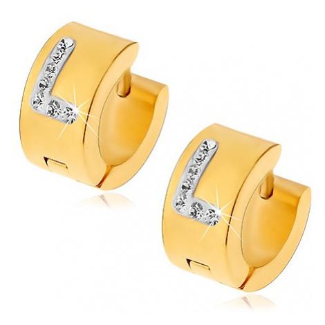 Kruhové náušnice z chirurgické oceli zlaté barvy, písmeno L s čirými zirkony Šperky eshop