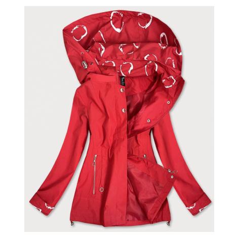 Červená dámská bunda větrovka s podšívkou (7707)