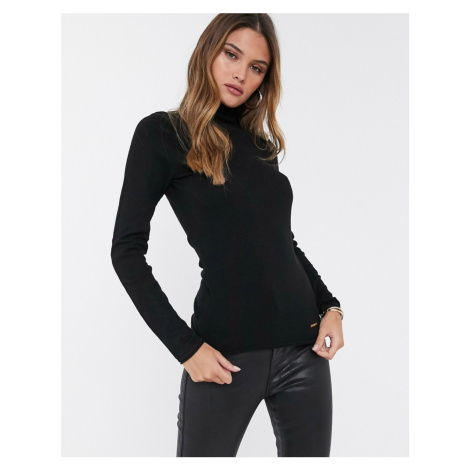 River Island lightweight knit roll neck jumper in black