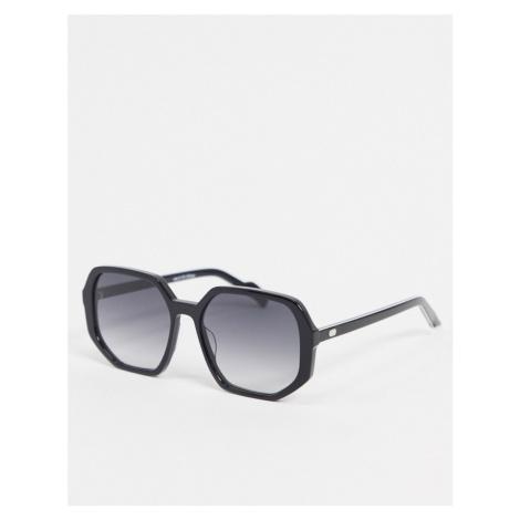 Spitfire Cut Sixteen oversized angular sunglasses in black