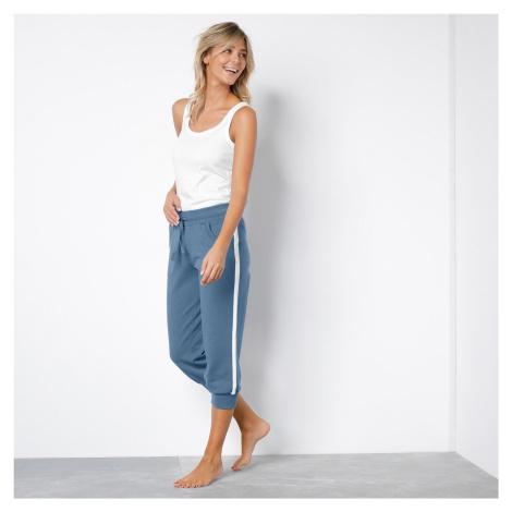 Blancheporte 3/4 sportovní kalhoty, dvoubarevné modrá džínová/bílá