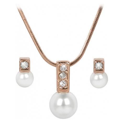 Troli Bronzová sada náhrdelníku a náušnic Pearl Caorle White