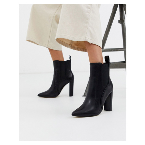 River Island high heeled western boots in black leather