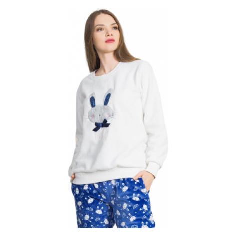 Dámské pyžamo dlouhé Vienetta Secret Králík s mašlí | modrá