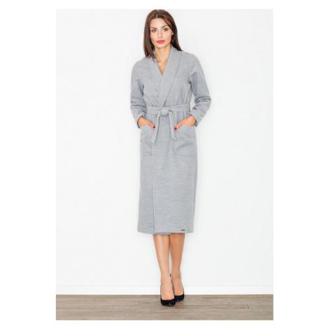 FIGL Šedý kabát po kolena M532 Grey