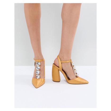 ASOS PEACOCK Embellished High Heels-Yellow