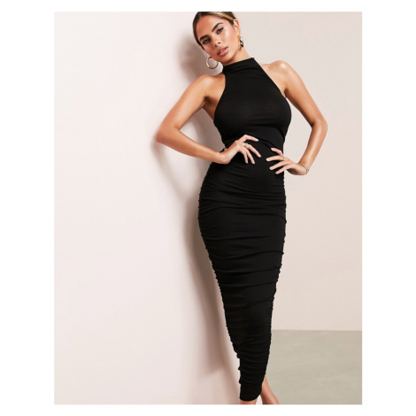 ASOS LUXE ruched racer front neck midi dress in black