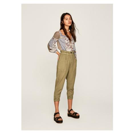 Pepe Jeans Pepe Jeans zelené plátěné kalhoty Lia
