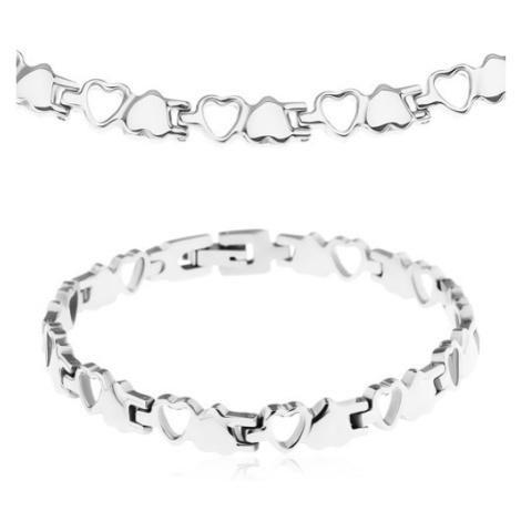 Set z chirurgické oceli, stříbrná barva, plná a obrysová srdíčka Šperky eshop