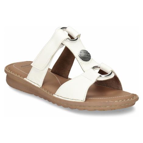 Bílé kožené dámské pantofle se stříbrnými aplikacemi Baťa