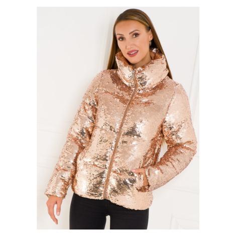 Dámská zimní bunda s glitry - zlatá