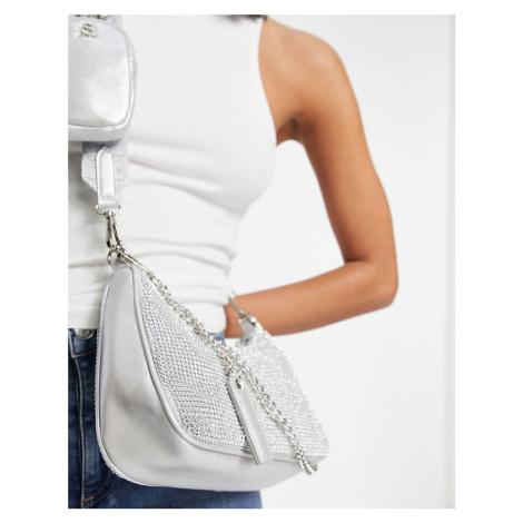 Steve Madden Bvamp cross body bag with chain strap in silver diamante