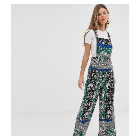 Miss Selfridge pinny jumpsuit in mixed print-Green