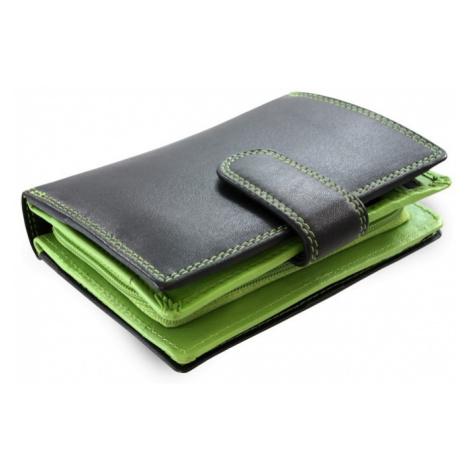 Černozelená dámská kožená peněženka se zápinkou Jennifer Arwel