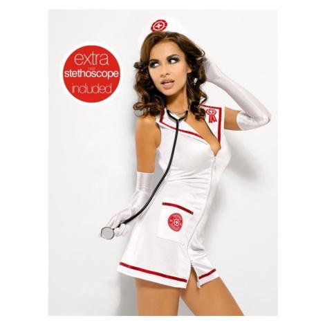 Sexy kostým Emergency dress + stetoskop - Obsessive Bílá