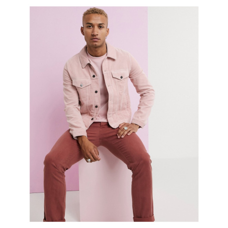 ASOS DESIGN cord western jacket in pink