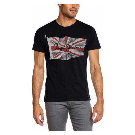 Pepe Jeans pánské černé tričko FLAG LOGO