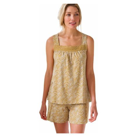Blancheporte Pyžamo se šortkami a macramé kari/bílá