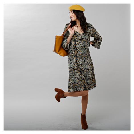 Blancheporte Šaty s potiskem a pagodovými rukávy khaki/medová