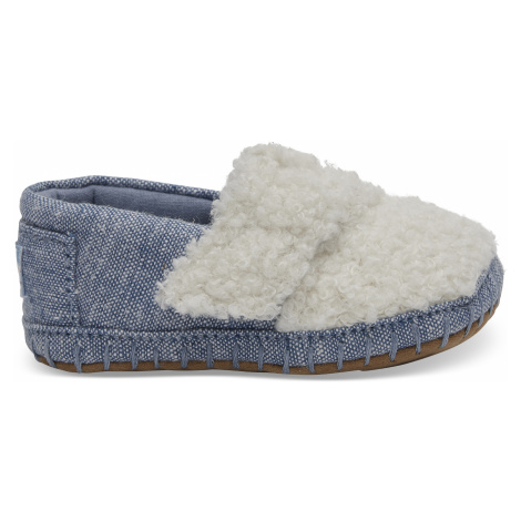 Natural Faux Shearling/Chambray Tiny Alpargata Crib Toms